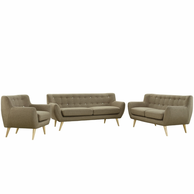 Mid-Century Modern Remark 3pc Button-Tufted Living Room Set, Brown