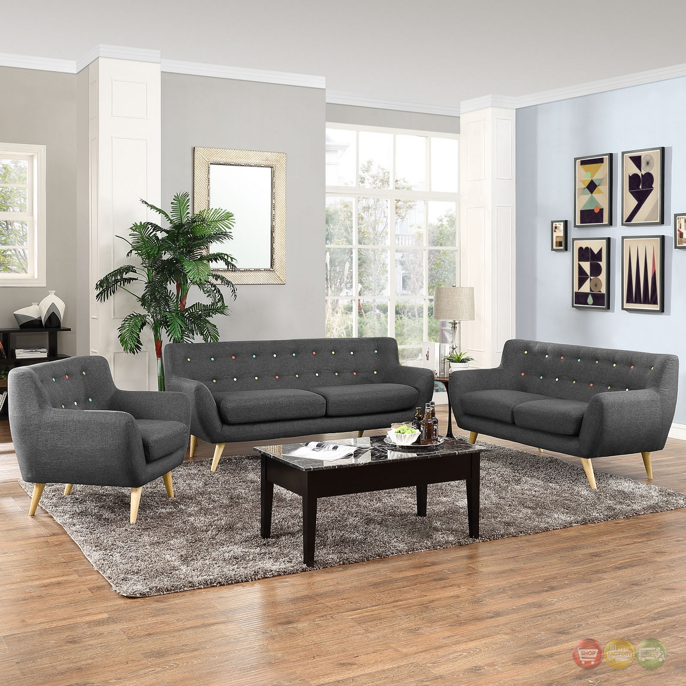 Mid-Century Modern Remark 3pc Button-Tufted Living Room