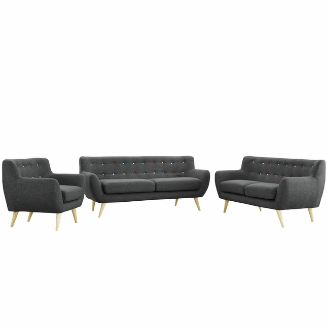 Mid-Century Modern Remark 3pc Button-Tufted Living Room Set, Gray