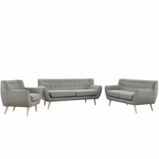 Mid-Century Modern Remark 3pc Button-Tufted Living Room Set, Light Gray