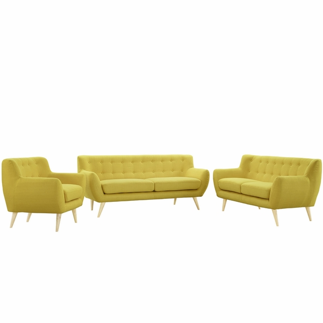 Mid-Century Modern Remark 3pc Button-Tufted Living Room Set, Sunny