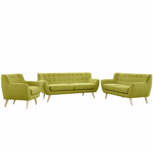 Mid-Century Modern Remark 3pc Button-Tufted Living Room Set, Wheat