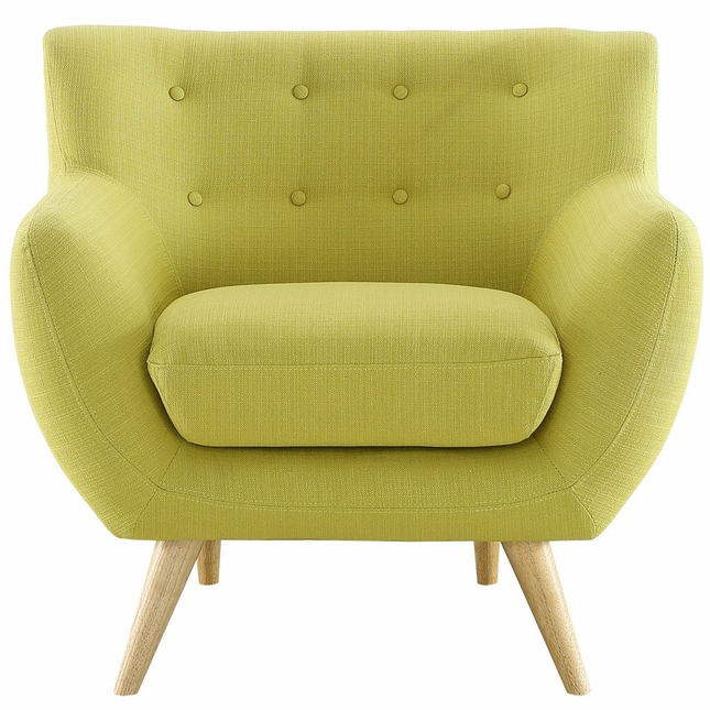 Mid-Century Modern Remark Armchair With Button Accents, Wheatgrass