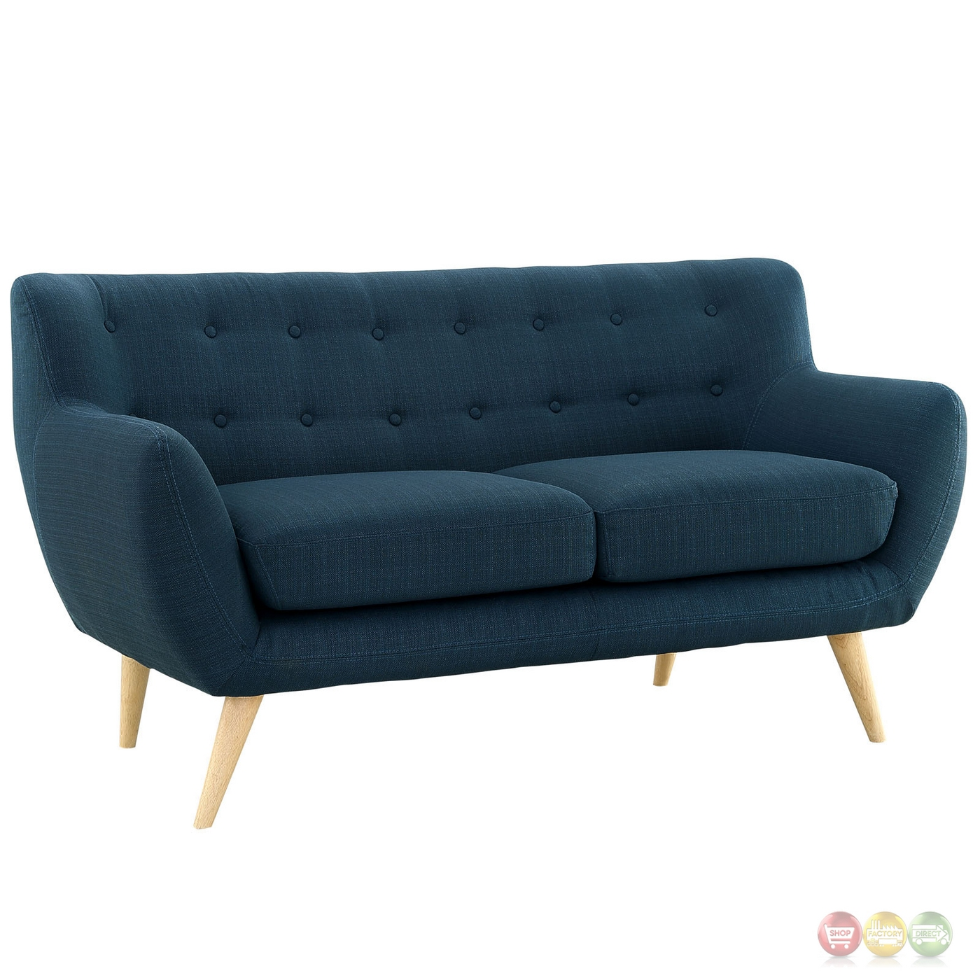 Remark Modern Upholstered Loveseat With Button Accents Azure