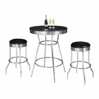 "Remington 3 Piece 30"" Pub Table Set In Chrome And Black Finish"