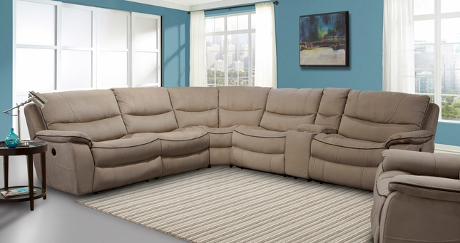 Remus Transitional Mocha Godiva Modular Power Reclining Sectional Sofa