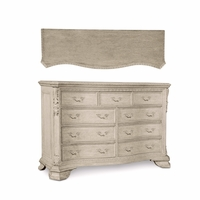 Renaissance 9-Drawer Carved Grey Dresser with Antique Finish
