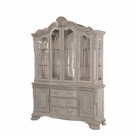 Renaissance Antique Grey China Cabinet with Ornate Carvings