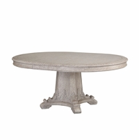 Renaissance Antique Grey Extendable Round Dining Table With Carved Details
