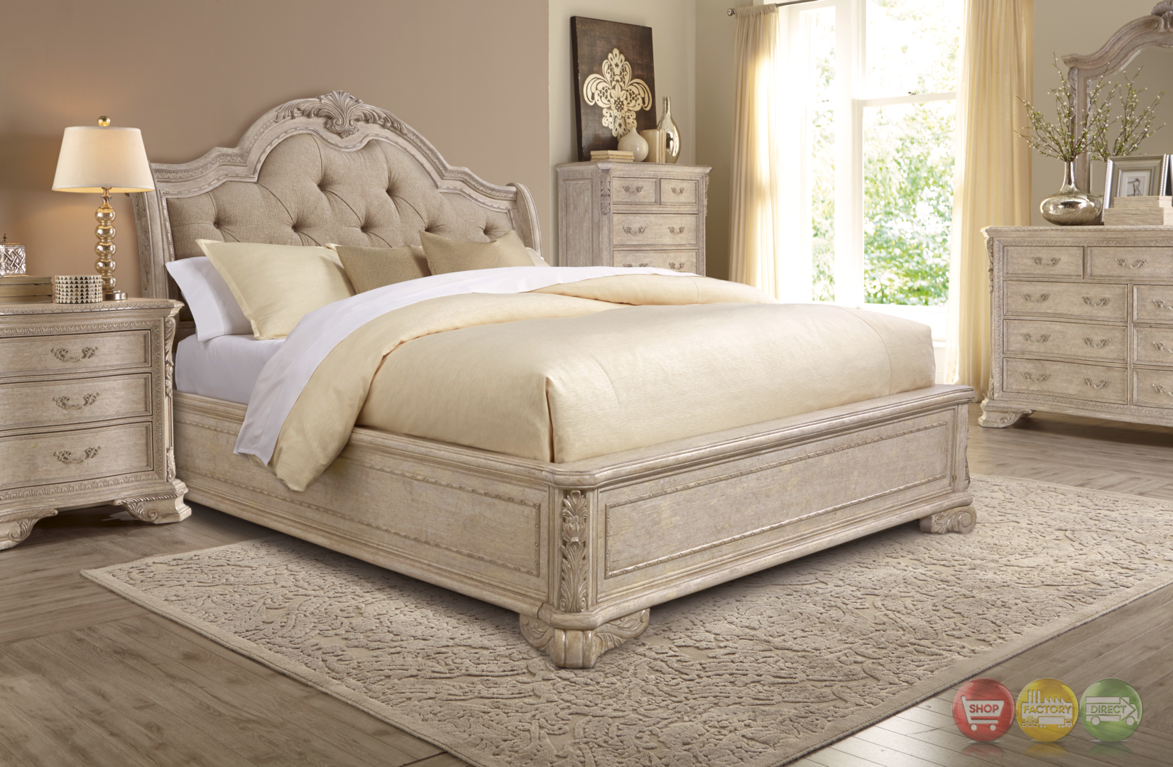 Renaissance carved grey king sleigh bed with upholstered for Bedroom set and mattress