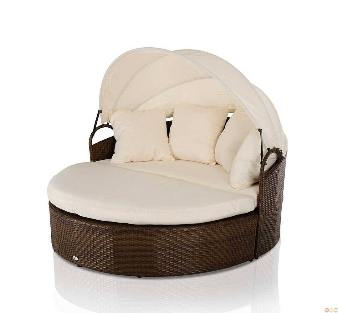 Vig Renava Cove Round Patio Day Bed With Retractable Sun