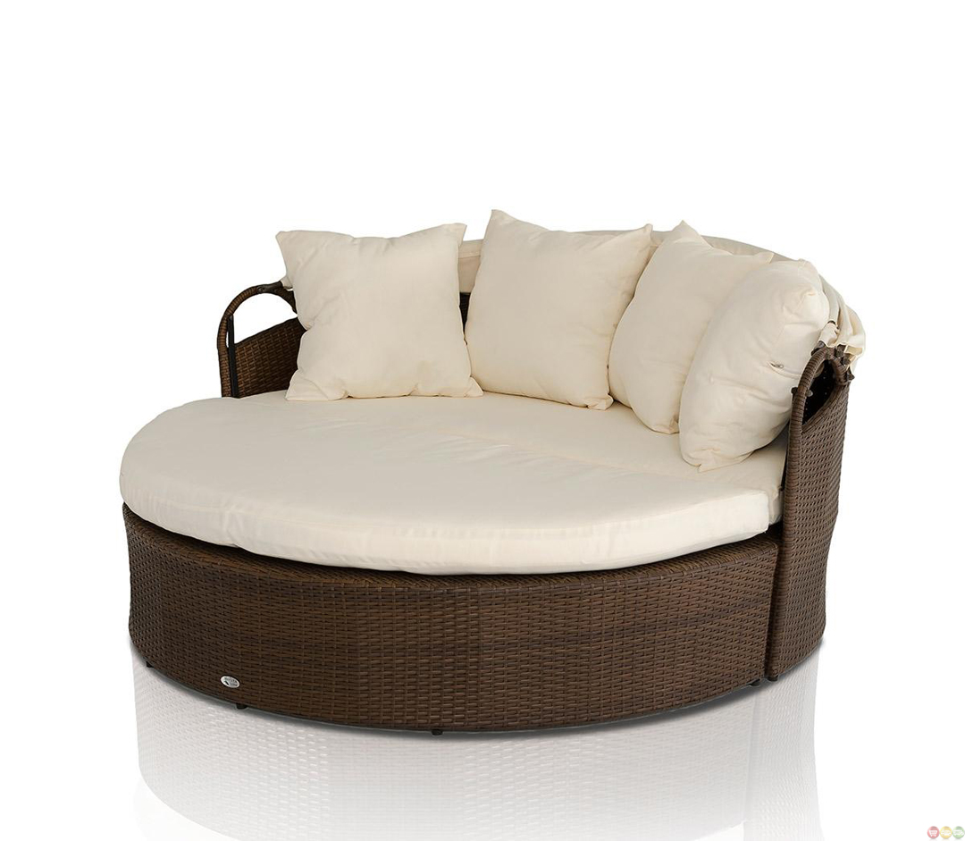 Vig renava cove round patio day bed with retractable sun for Retractable bed