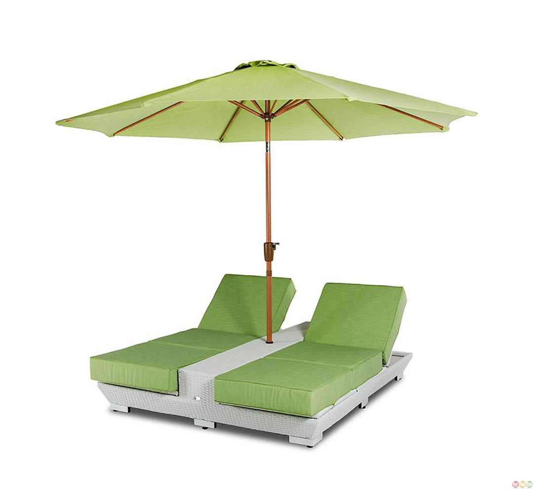 Vig renava gemini two lounge chair built in base and for Patio chair with umbrella