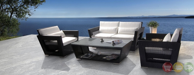 Black Outdoor Patio Sofa Chair and Table Set with White Cushions