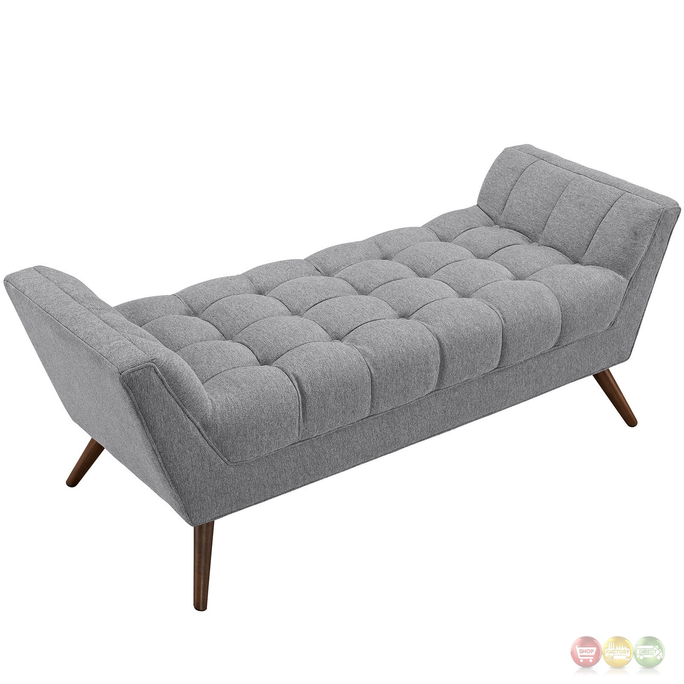 Response Contemporary Button Tufted Upholstered Bench Expectation Gray