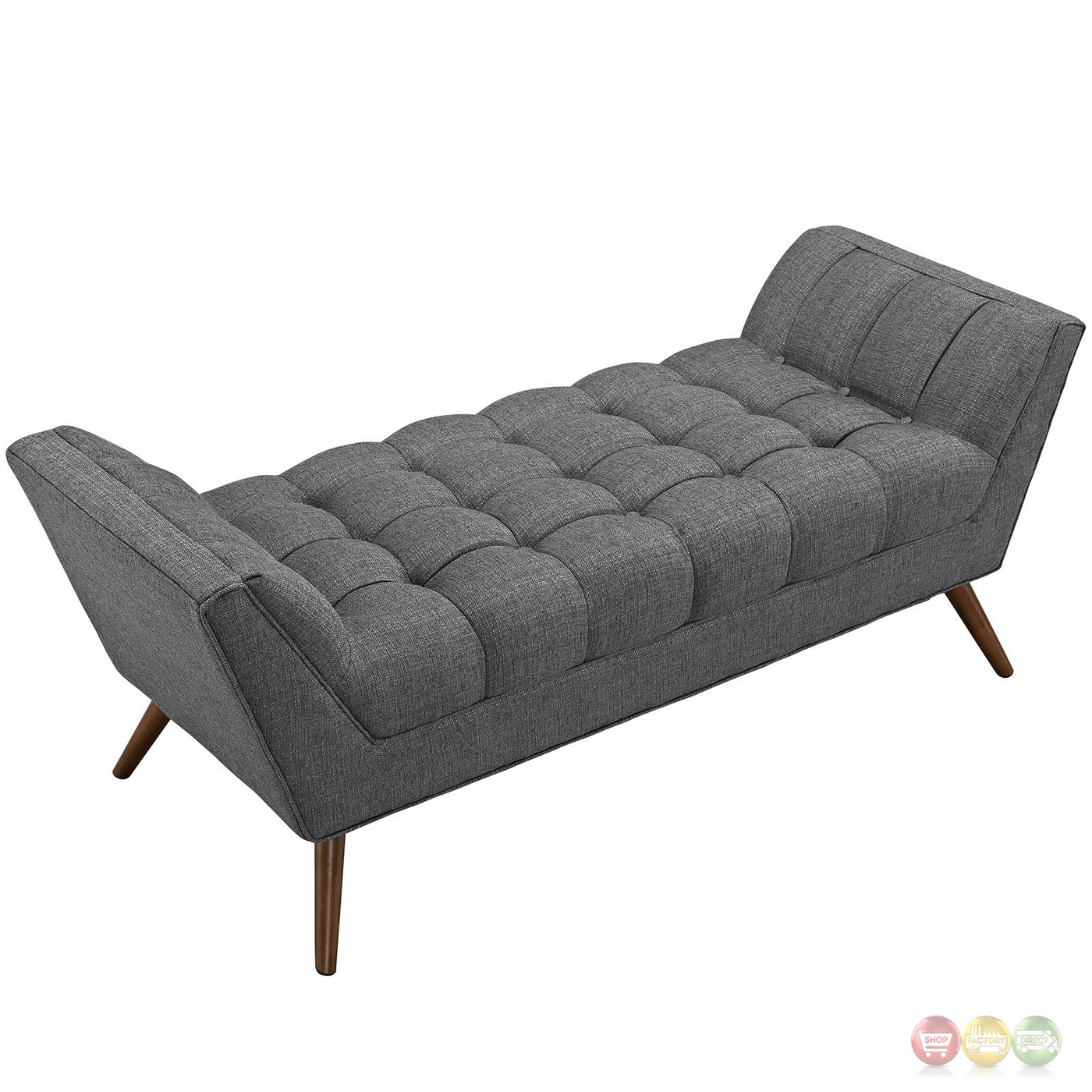 Response Contemporary Button Tufted Upholstered Bench Gray