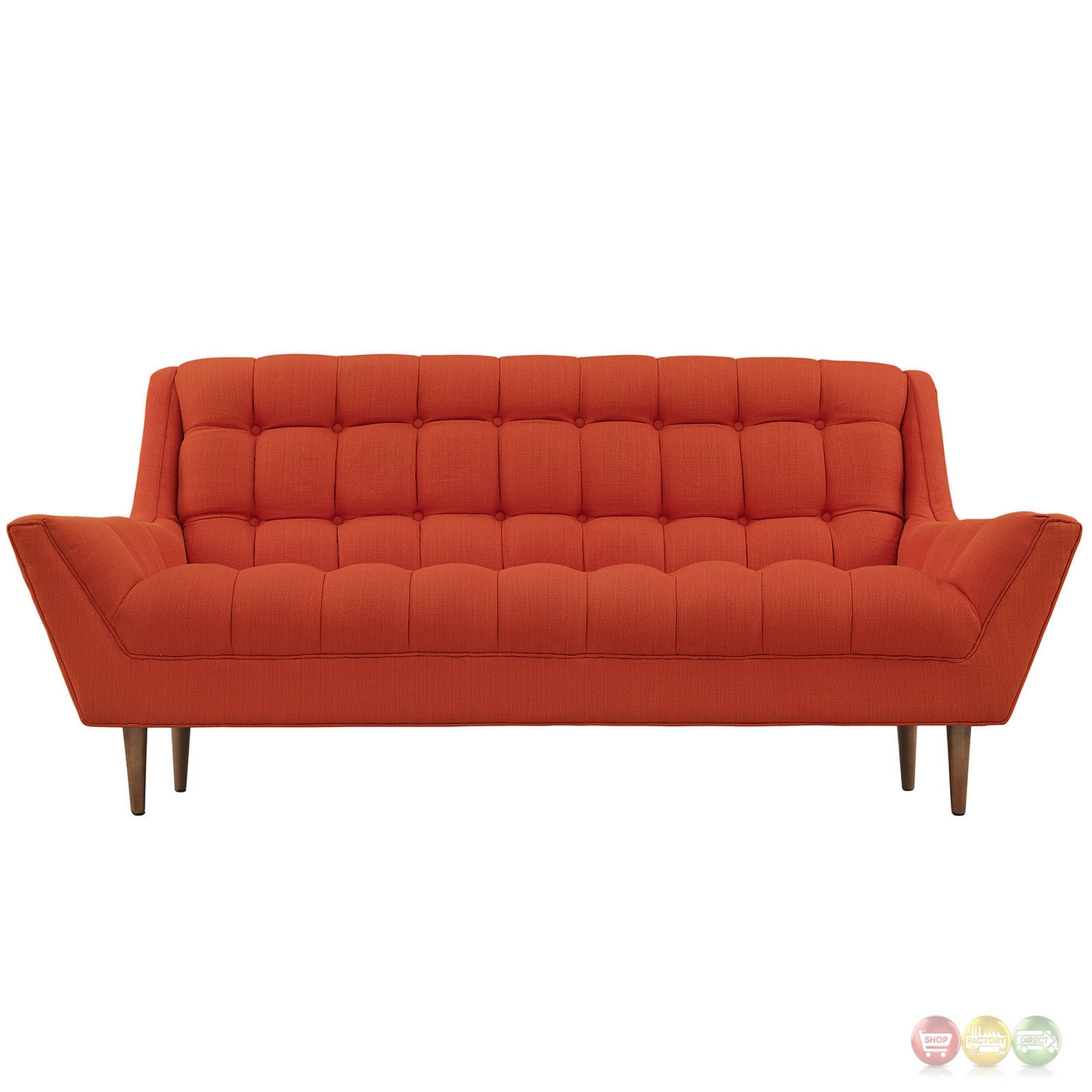 Response Contemporary Button Tufted Upholstered Loveseat Atomic Red