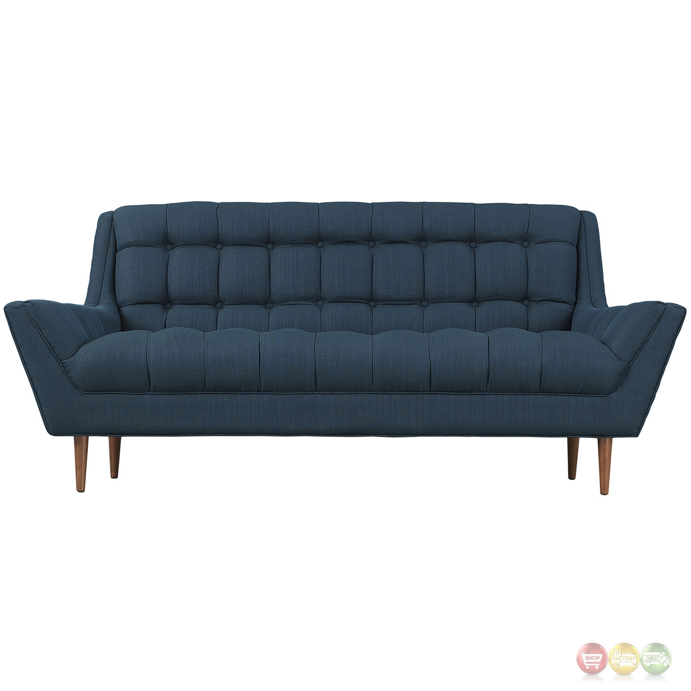 Response Contemporary Button Tufted Upholstered Loveseat Azure