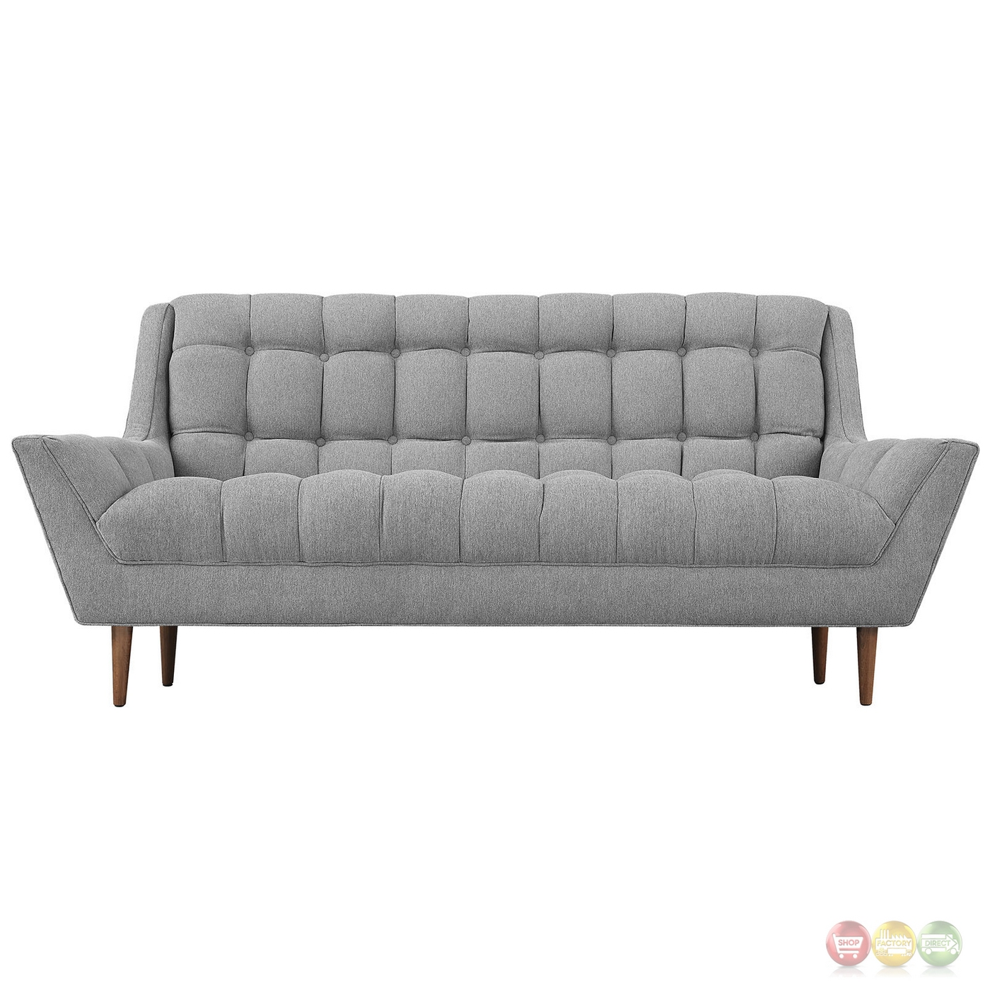 Response Contemporary Button Tufted Upholstered Loveseat Expectation Gray