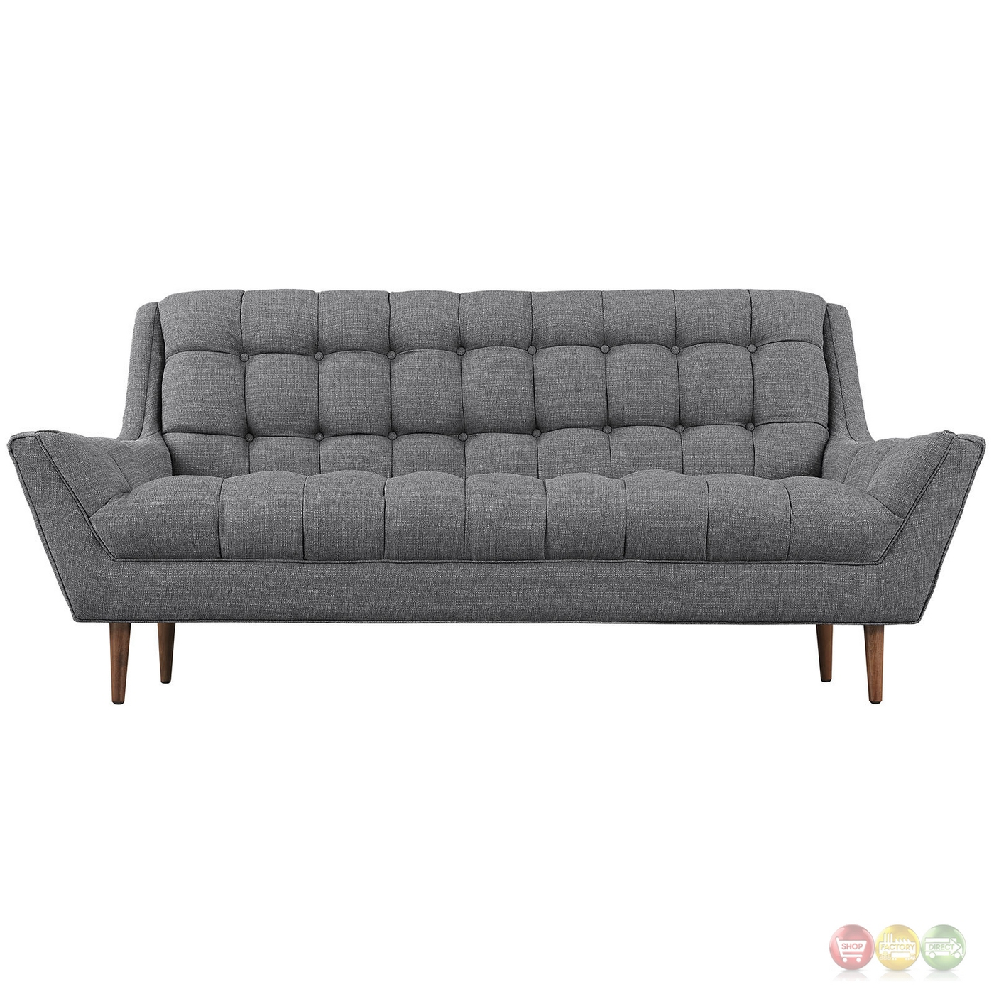 Mid Century Modern Response Contemporary Button Tufted Loveseat Gray