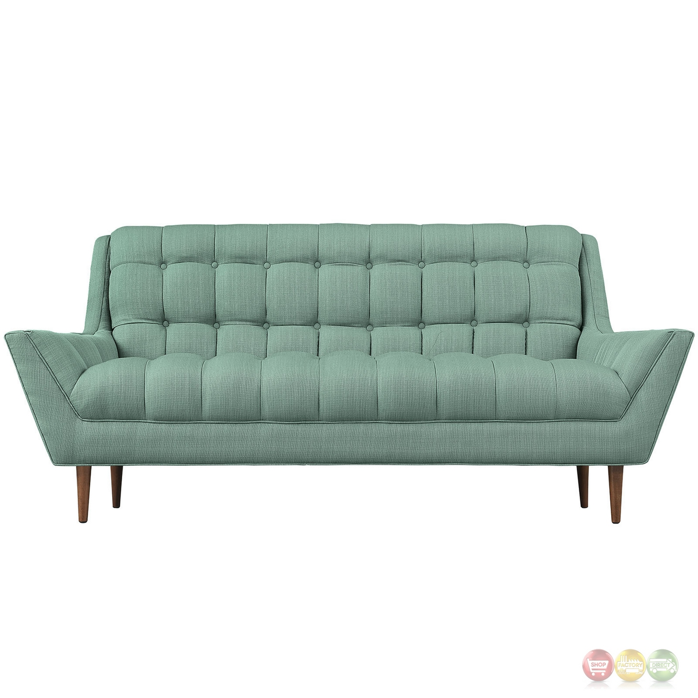 Response Contemporary Button Tufted Upholstered Loveseat Laguna