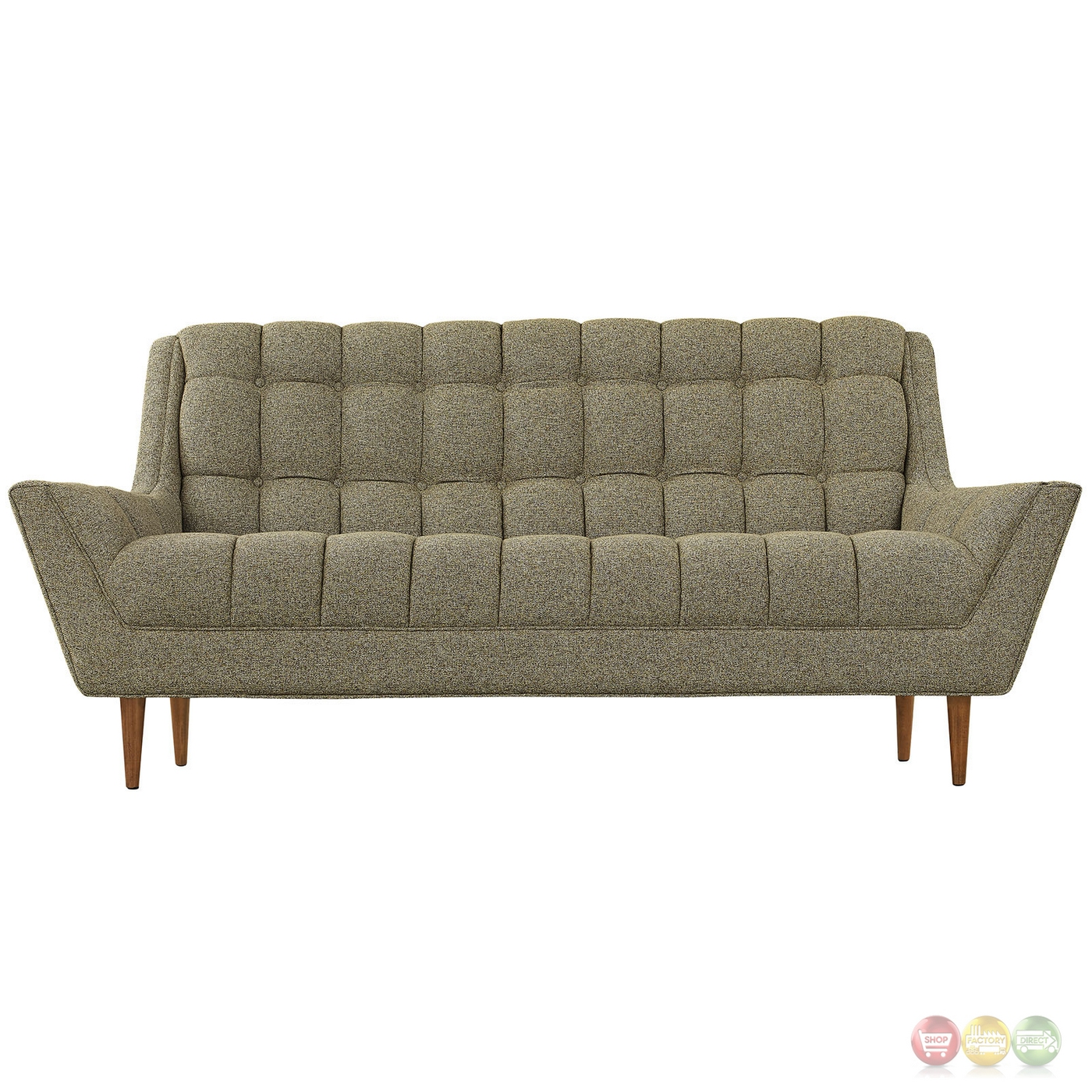 Response Contemporary Button Tufted Upholstered Loveseat Oatmeal