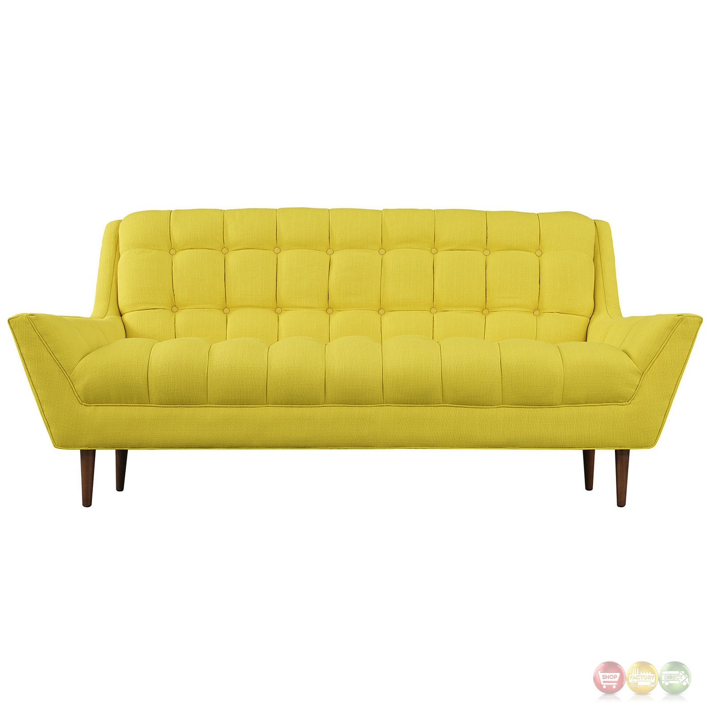 Mid Century Modern Response Contemporary Button Tufted Loveseat Sunny