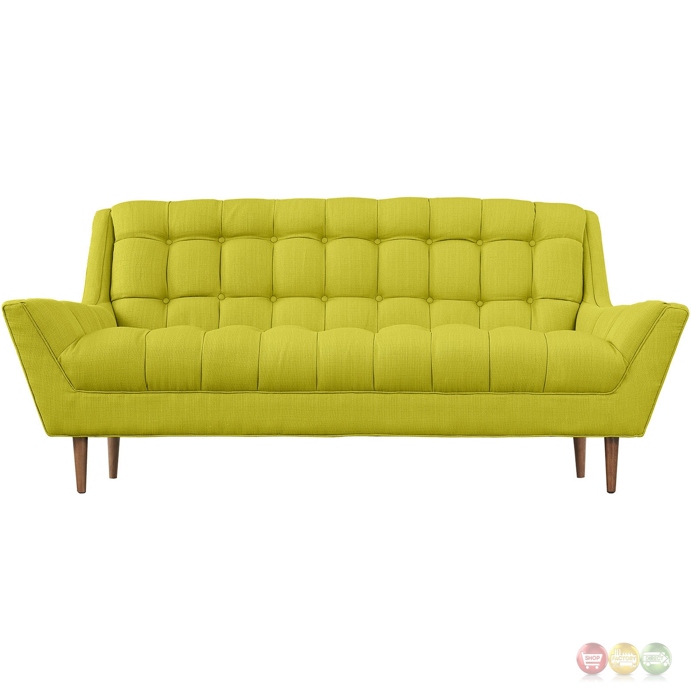 Response Contemporary Button Tufted Upholstered Loveseat Wheatgrass