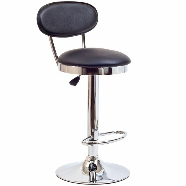 Retro Modern Mid-back Vinyl Bar Stool w/ Chrome Base, Black