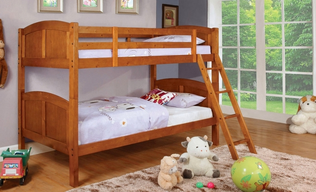 Rexford Oak Bunk Bed with Angled Ladder