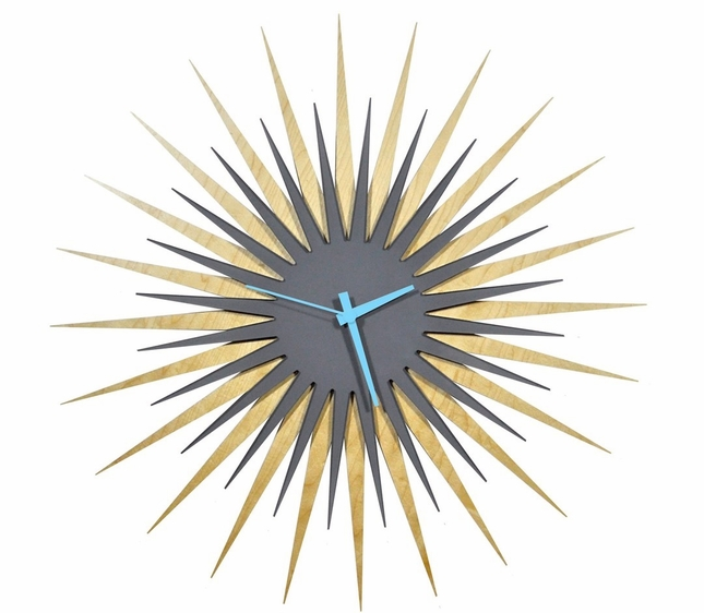 RF Atomic Clock - Maple Grey/Blue Starburst - L0184