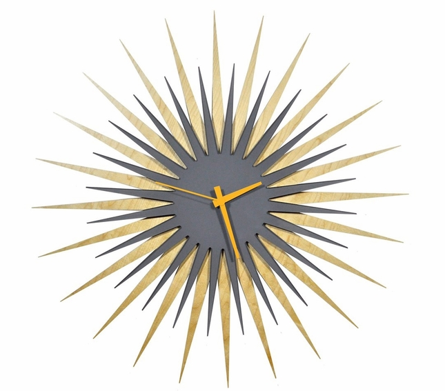 RF Atomic Wall Clock Maple Grey/Orange Starburst Design L0186