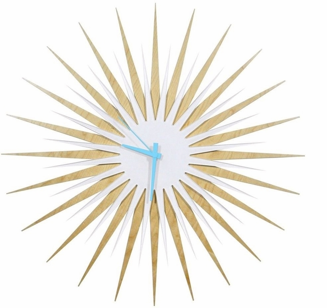 RF Atomic Wall Clock Maple White/Blue Retro Starburst Design L0189