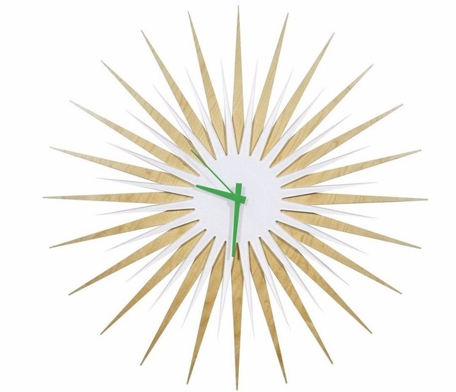 RF Atomic Wall Clock Maple White/Green Starburst Design L0190