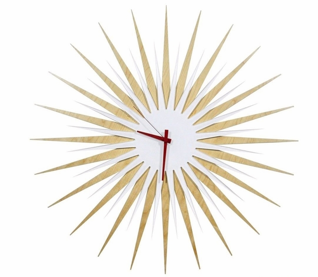 RF Atomic Wall Clock Maple White Red Retro Starburst Design L0193