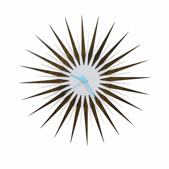 RF Atomic Wall Clock Walnut White/Blue Starburst Design L0199