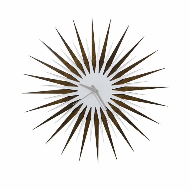 RF Atomic Wall Clock Walnut White/Grey Retro Starburst Design L0201