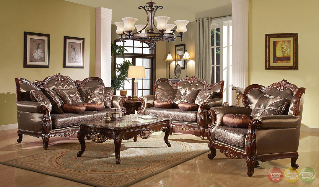 Rhapsody traditional dark wood formal living room sets for Traditional living room furniture