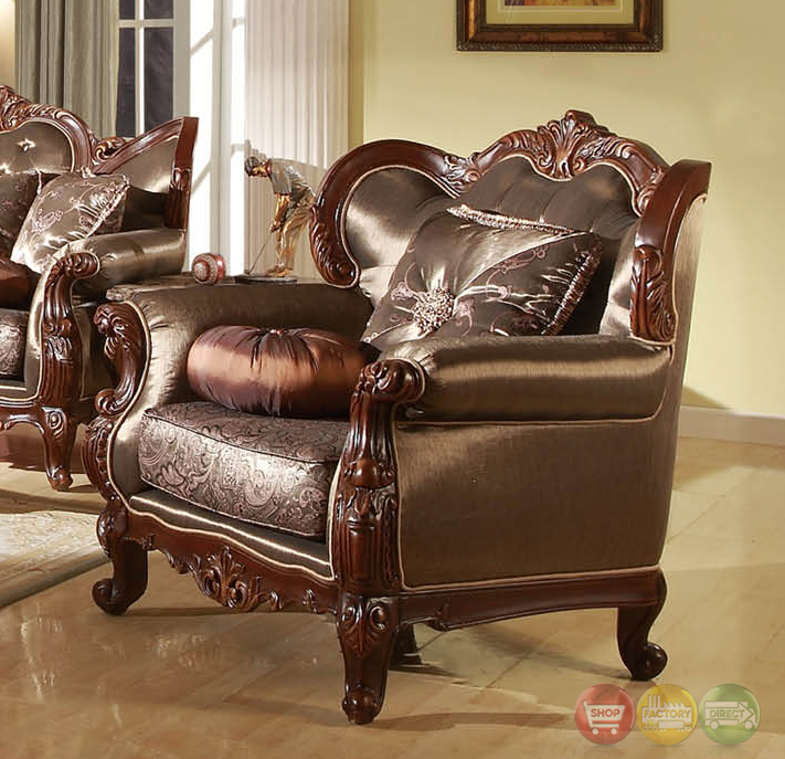 Rhapsody traditional dark wood formal living room sets for Formal living room furniture sets