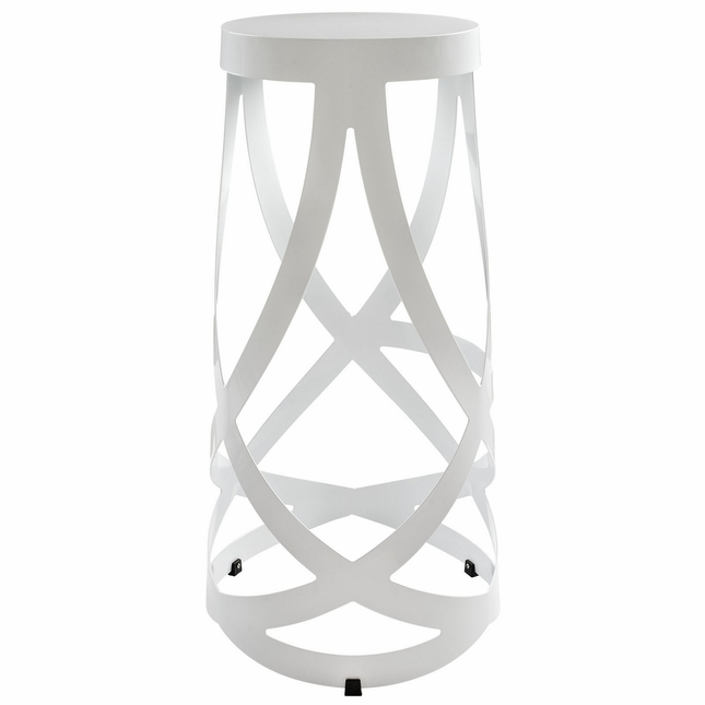 Ribbon Modernistic Aluminum Bar Stool, White