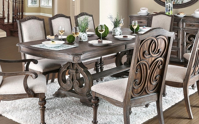 Ridgewood 78 -96  Double Pedestal Dining Table in Rustic Natural Tone & Rustic Dining Table Set | Double Pedestal Dining Table