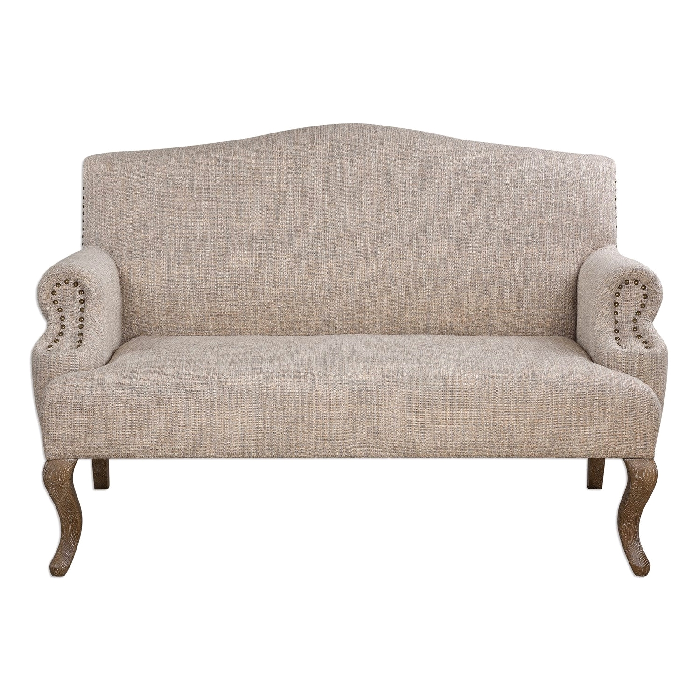 Rigina Camelback Soft Tan Loveseat With Brass Nailhead Trim Oak Cabriole Legs
