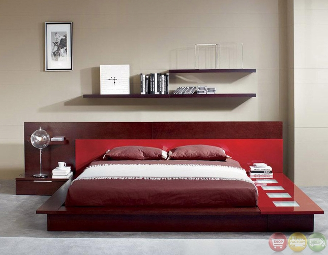 Rimini Contemporary Walk On Platform Bed With Lights In