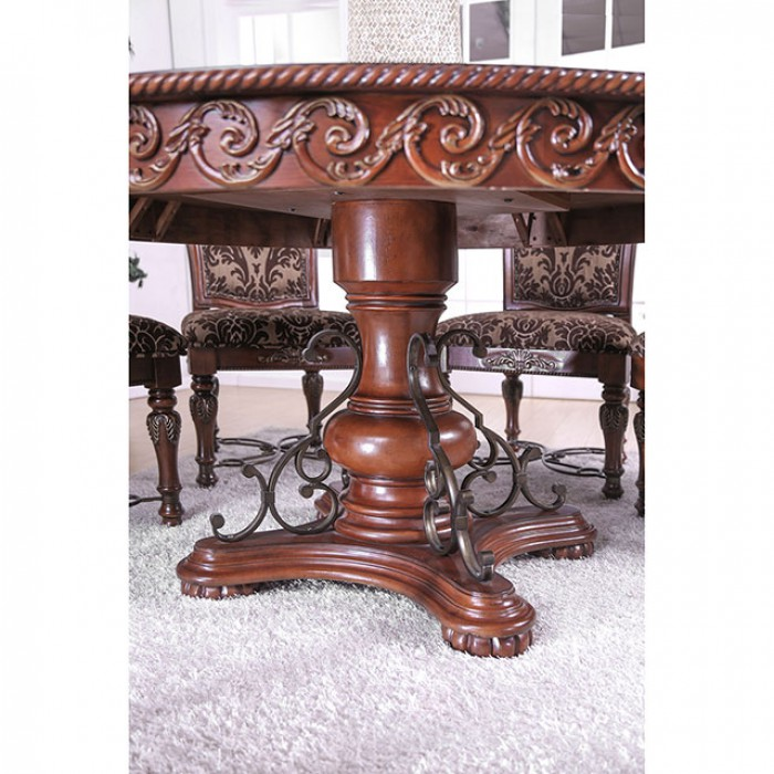 """Round Formal Dining Table: Rimini Formal Brown Cherry 60"""" Round Dining Table Set With"""