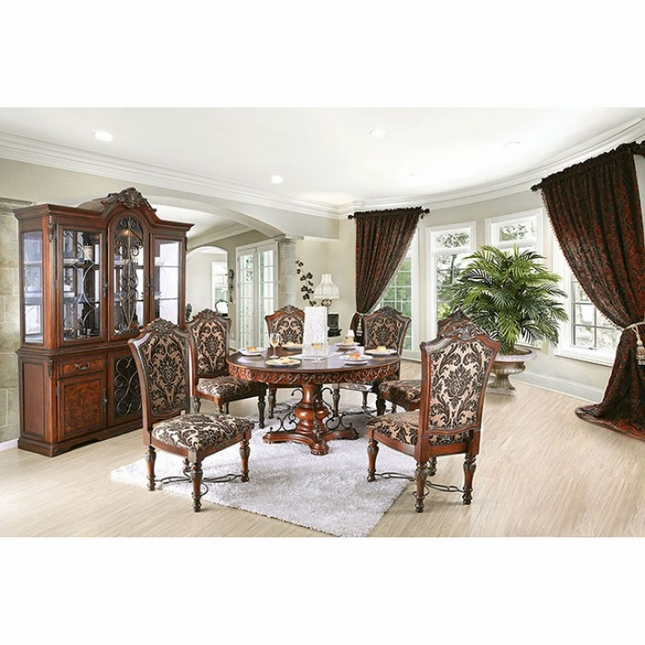 "Cleopatra Ornate Traditional Cherry Formal Dining Room: Rimini Formal Brown Cherry 60"" Round Dining Table Set With"