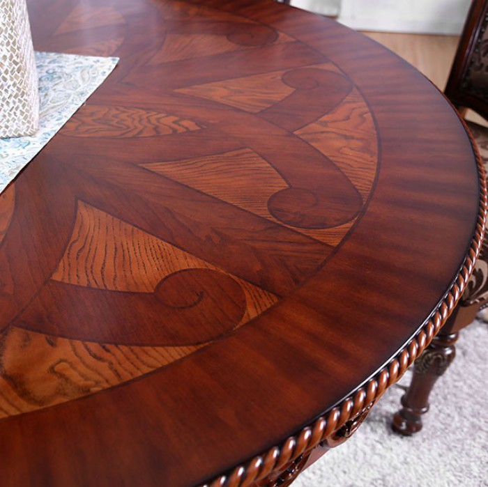 """Round Formal Dining Table: Rimini Traditional Formal 60"""" Round Dining Table W/ Ornate"""