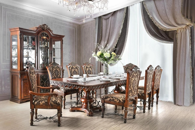 Rimini Traditional Formal Dining Table Set w/ Ornate Carvings and ...