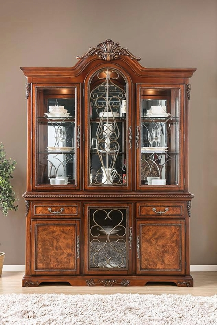Rimini Traditional Ornate China Cabinet W Metal Scrollwork In Cherry Finish