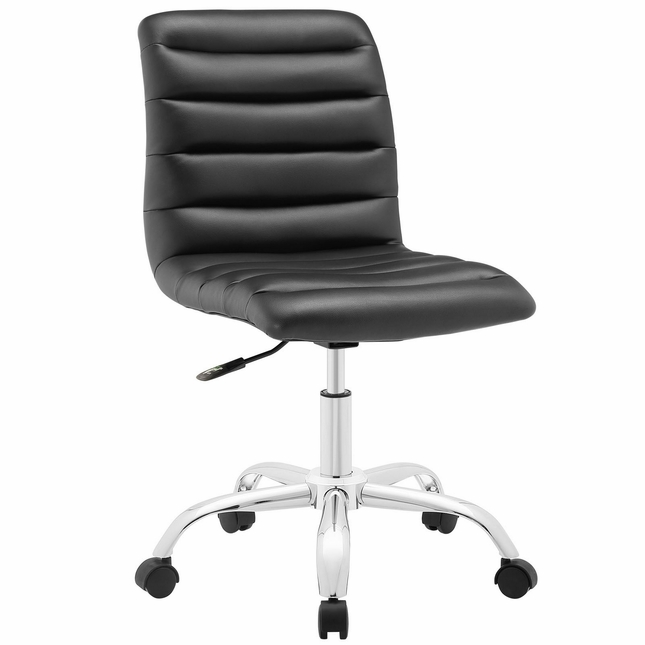 Ripple Modern Vinyl Upholstered Armless Mid Back Office Chair, Black