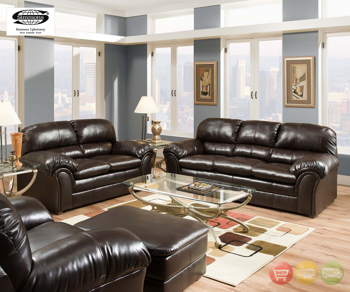 Riverside Vintage Brown Plush Bonded Leather Living Room Furniture Set Simmons Ebay